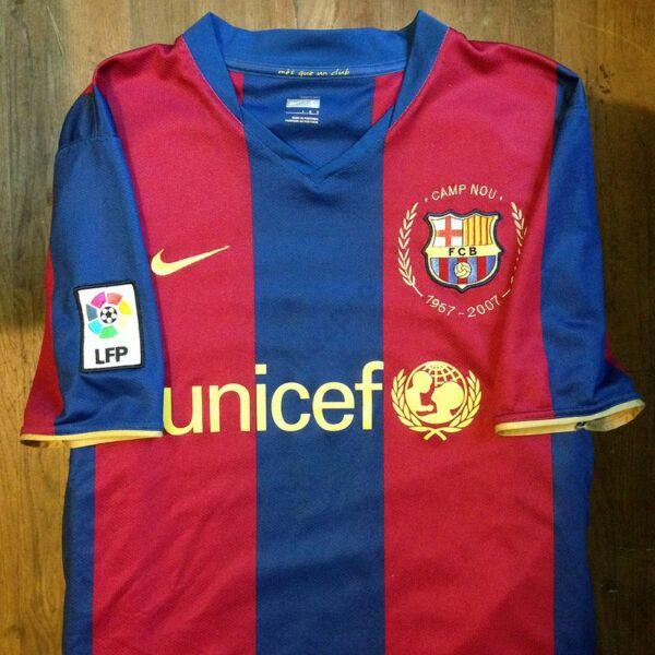 Barcelona 2007-2008 hazai rövid ujjú RETRÓ mez - Férfi